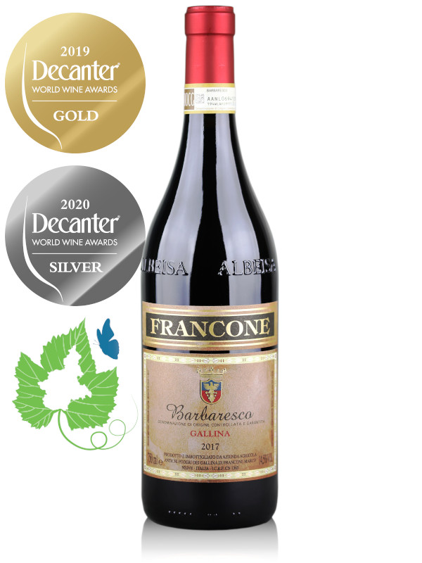 Bottle of Italian red wine Francone Barbaresco DOCG Gallina 2017, Decanter Gold Medal 2019, Decanter Silver Medal 2020, Green Experience