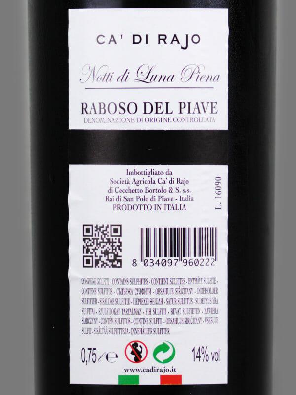Ca Di Rajo Notti Di Luna Piena 2011 - back label