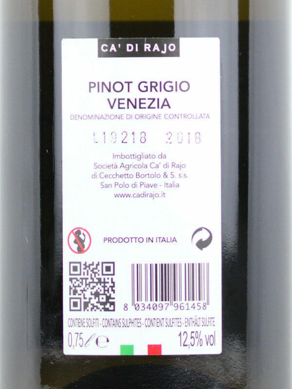 Ca di Rajo Pinot Grigio Venezia DOC 2018 - back label