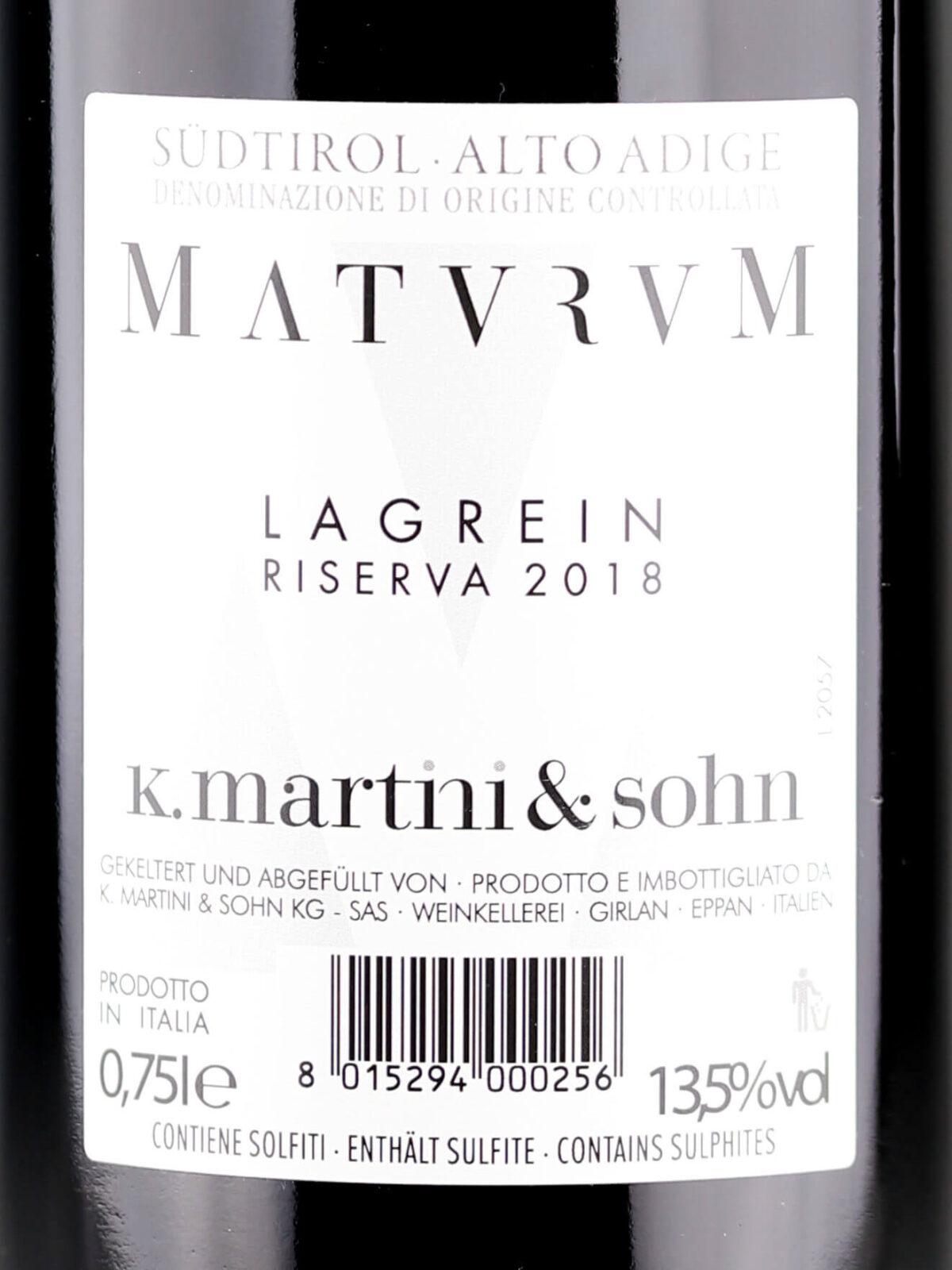 Back label - K.Martini & Sohn Maturum Lagrein Riserva 2018 Alto Adige DOC