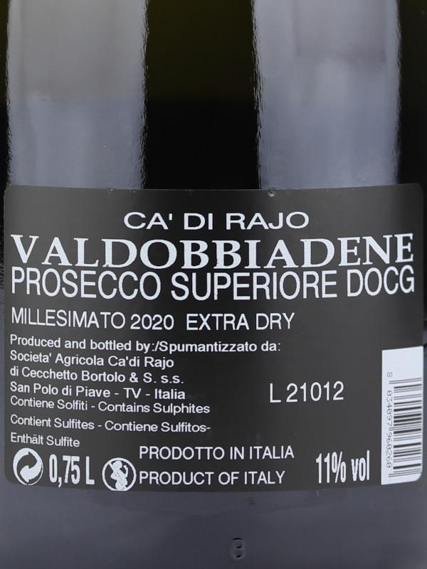 Back label of Ca' di Rajo Extra Dry Conegliano-Valdobbiadene Prosecco Superiore DOCG Millesimato 2020