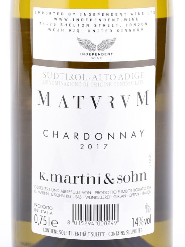 Back label of K. Martini & Sohn, Maturum Chardonnay Alto Adige DOC 2017