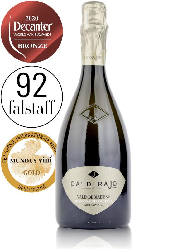 Bottle of Italian Prosecco sparkling wine Ca' di Rajo Extra Dry Conegliano-Valdobbiadene Prosecco Superiore DOCG Millesimato 2020