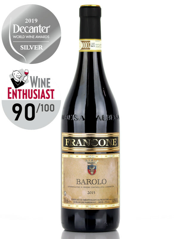 Bottle of red wine Francone Barolo DOCG 2015, 100% Nebbiolo, Decanter Silver Medal, 90 pts by Wine Enthusiast