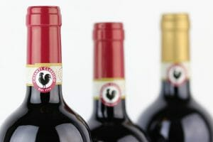 Black Rooster symbol on three bottles of Chianti Classico DOCG wines