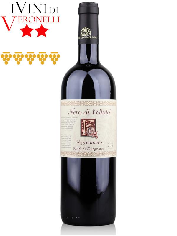 Bottle of Italian red wine Feudi di Guagnano Nero di Velluto 2014 Negroamaro Salento IGT