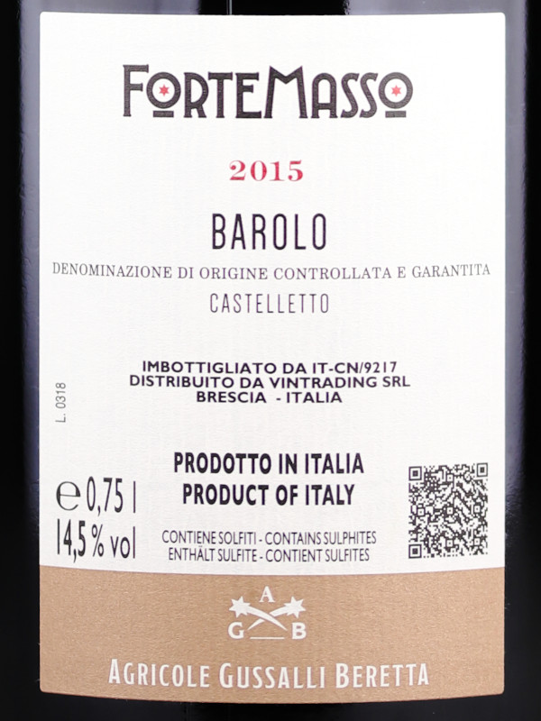 Back label of ForteMasso Barolo Castelletto 2015