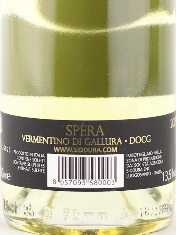 Back label of Siddura Spera 2019 Vermentino di Gallura DOCG