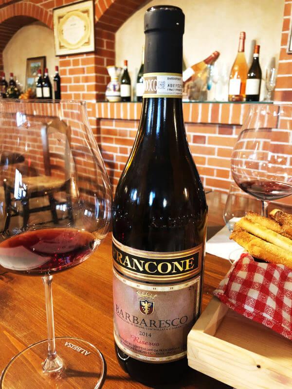 Barbaresco Riserva 2014 on the table at Cantina Francone