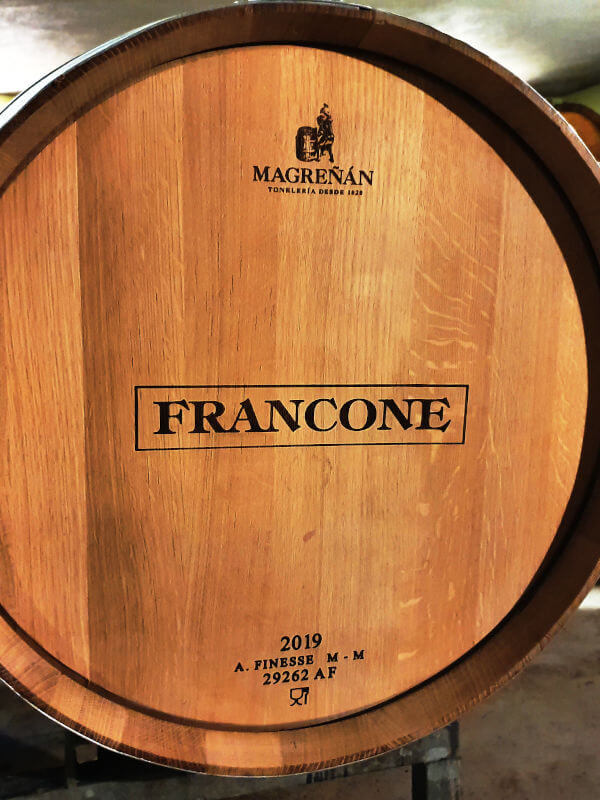 Cantina Francone, oak barrel with Barolo wine
