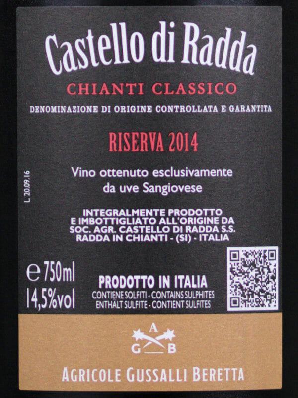 Chianti Classico DOCG - Castello di Radda Riserva 2014 back label