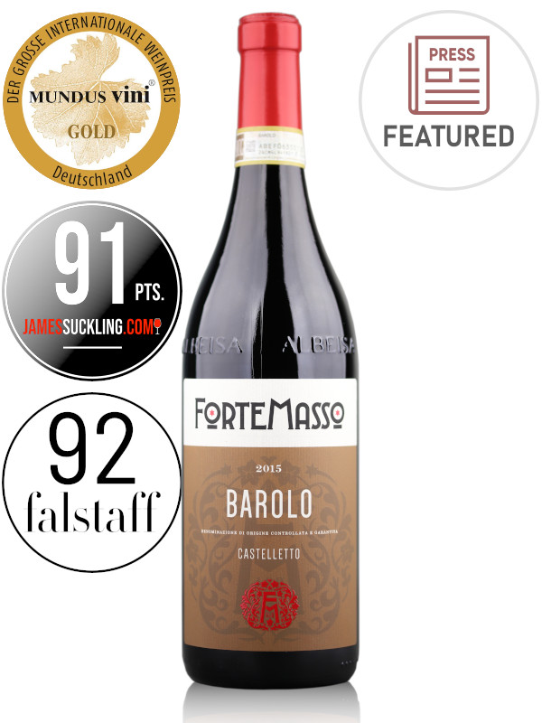 Bottle of Italian red wine ForteMasso Barolo Castelletto 2015 from Monforte d'Alba