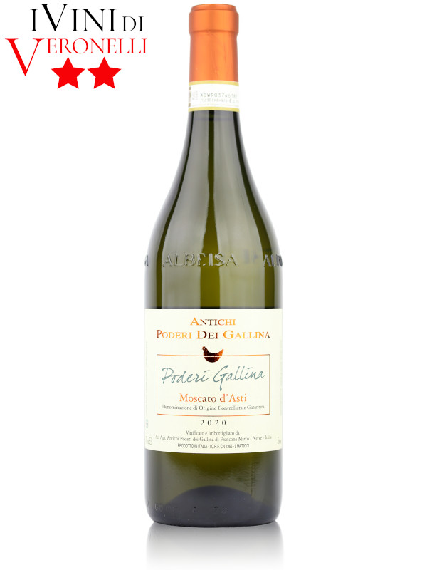 Bottle of Italian sparkling wine Francone Antichi Poderi Dei Gallina Moscato d'Asti DOCG 2020