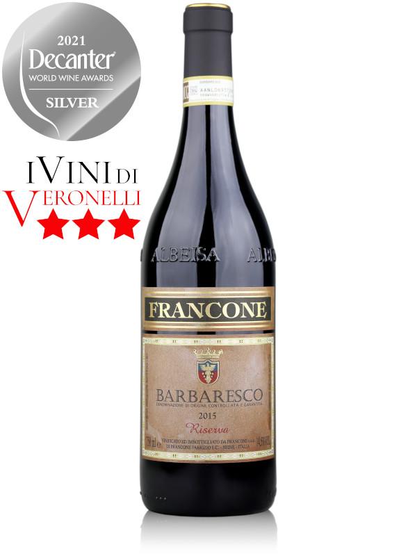 Bottle of Italian red wine Francone Barbaresco Riserva DOCG 2015