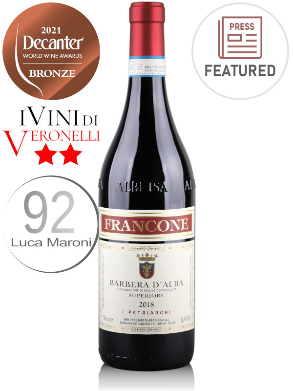 Bottle of Italian red wine Francone Barbera d'Alba Superiore DOC 2018, from Piedmont, Italy