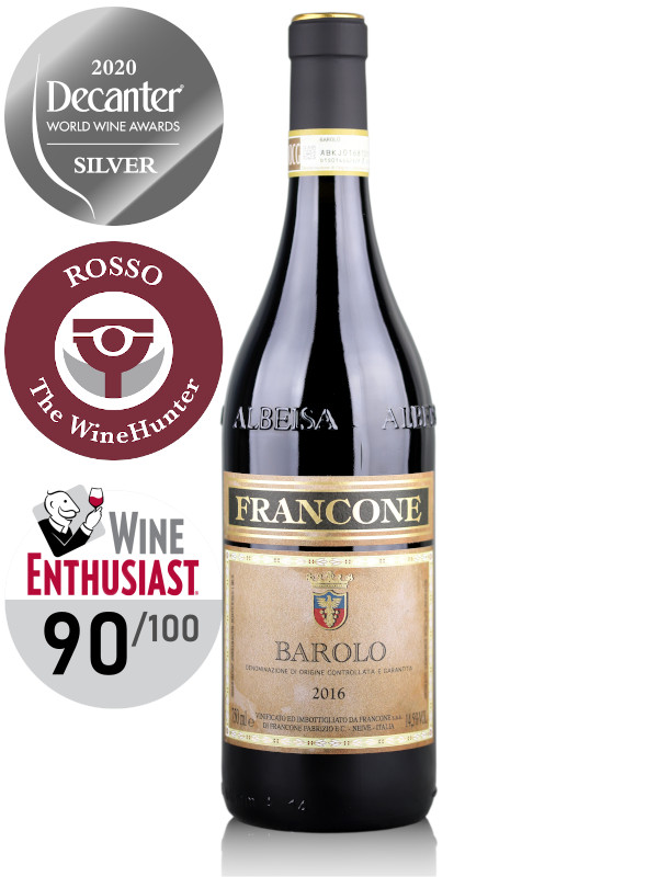 Francone Barolo DOCG 2016 red wine - Decanter Silver Medal 2020, The WineHunter Rosso, The Wine Enthusiast 90 points