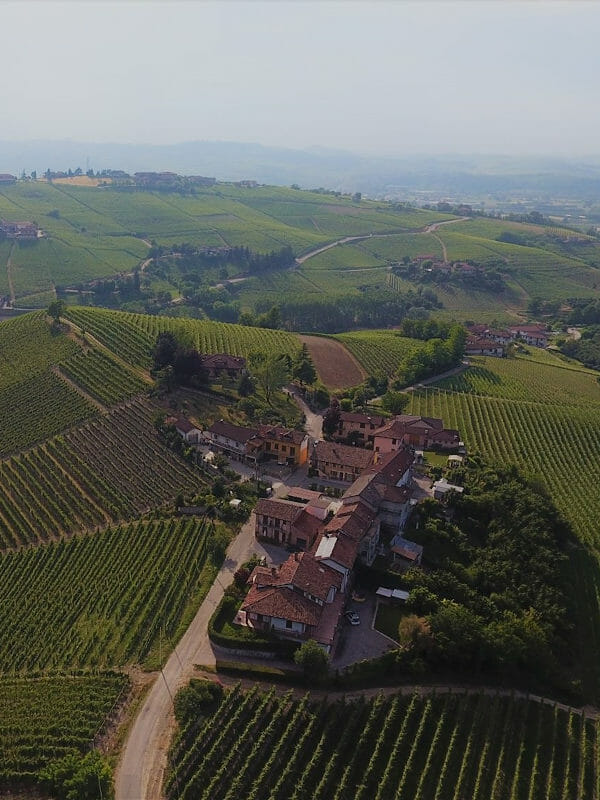 Gallina hill in Barbaresco, Piedmont, Italy, view from the drone
