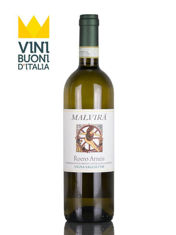 Bottle of white wine Malvirà Saglietto Arneis 2016 Roero DOCG