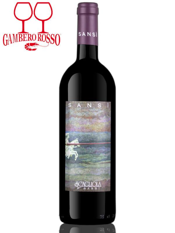 Bottle of red wine Scagliola Sansi Barbera d'Asti DOCG 2017 Two Glasses Award