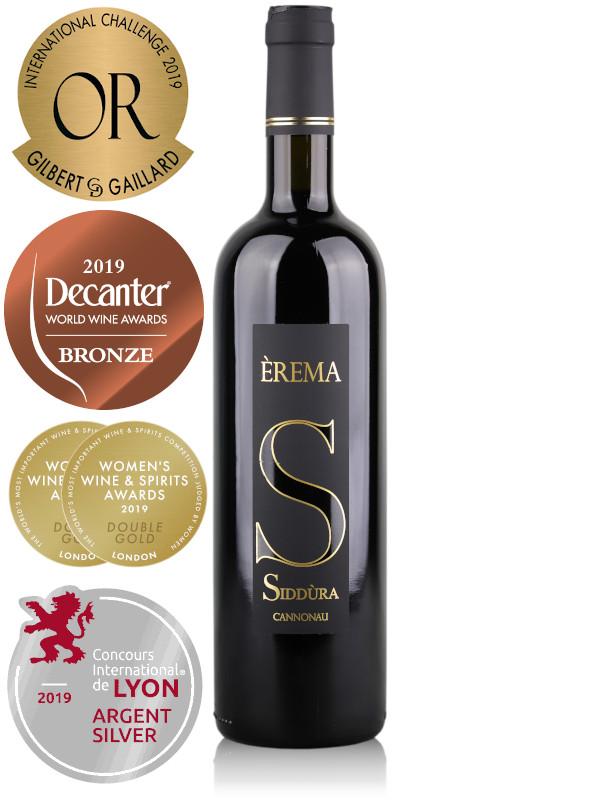 Bottle of Italian red wine Siddura Erema Cannonau 2016