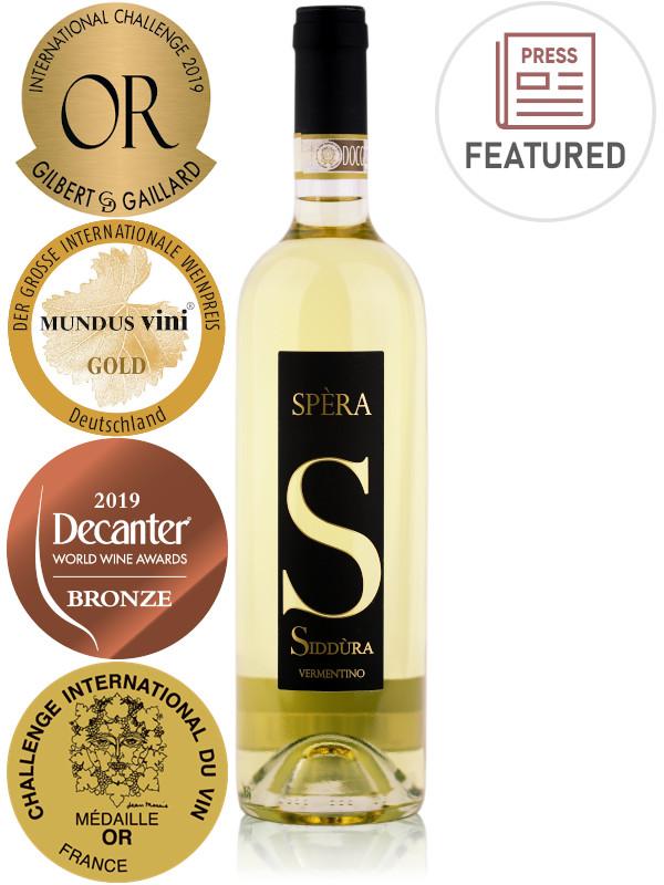 Bottle of award-winning Italian white wine Siddùra Spèra Vermentino di Gallura DOCG 2019