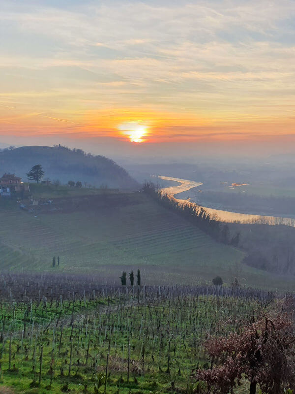 View of Tanaro river, from the village of Barbaresco in Piedmont, Italy
