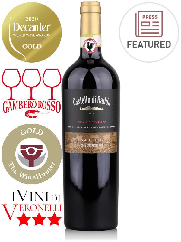 Bottle of Italian red wine Castello di Radda Vigna il Corno Gran Selezione 2015 Chianti Classico DOCG