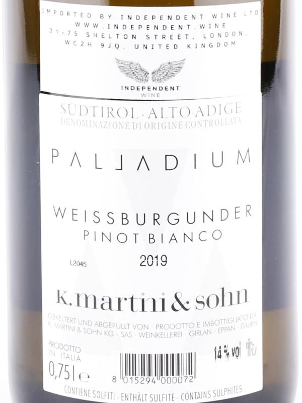 Back label of K. Martini & Sohn Palladium Weissburgunder Alto Adige DOC 2018