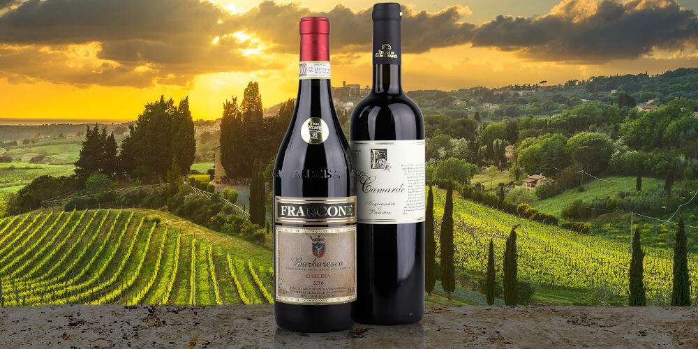 Our best wines of 2020, Francone Barbaresco and Feudi di Guagnano Primitivo, Italian landscape background, on stone table