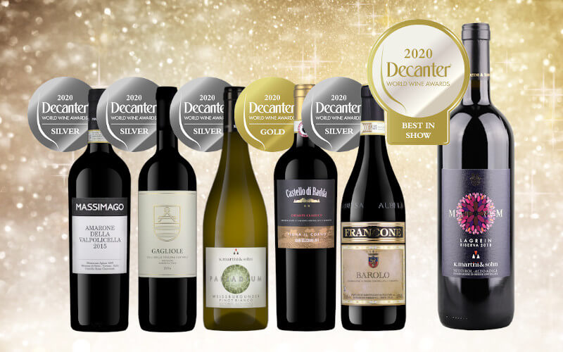 Italian wines by Independent Wine with Decanter Silver and Gold medals and K.Martini Maturum Riserva with Best in Show 2020 award