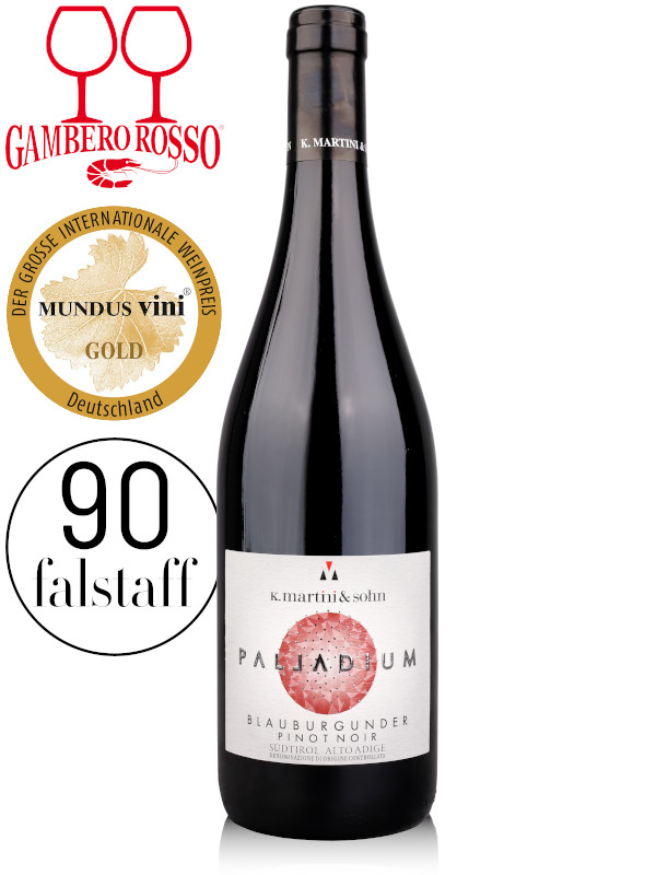 Bottle of red wine K.Martini & Sohn Palladium Blauburgunder Pinot Noir Alto Adige DOC 2017