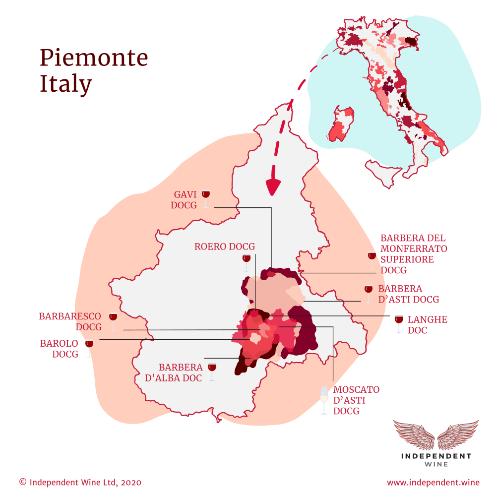 Map of Italian wine making zones in Piemonte