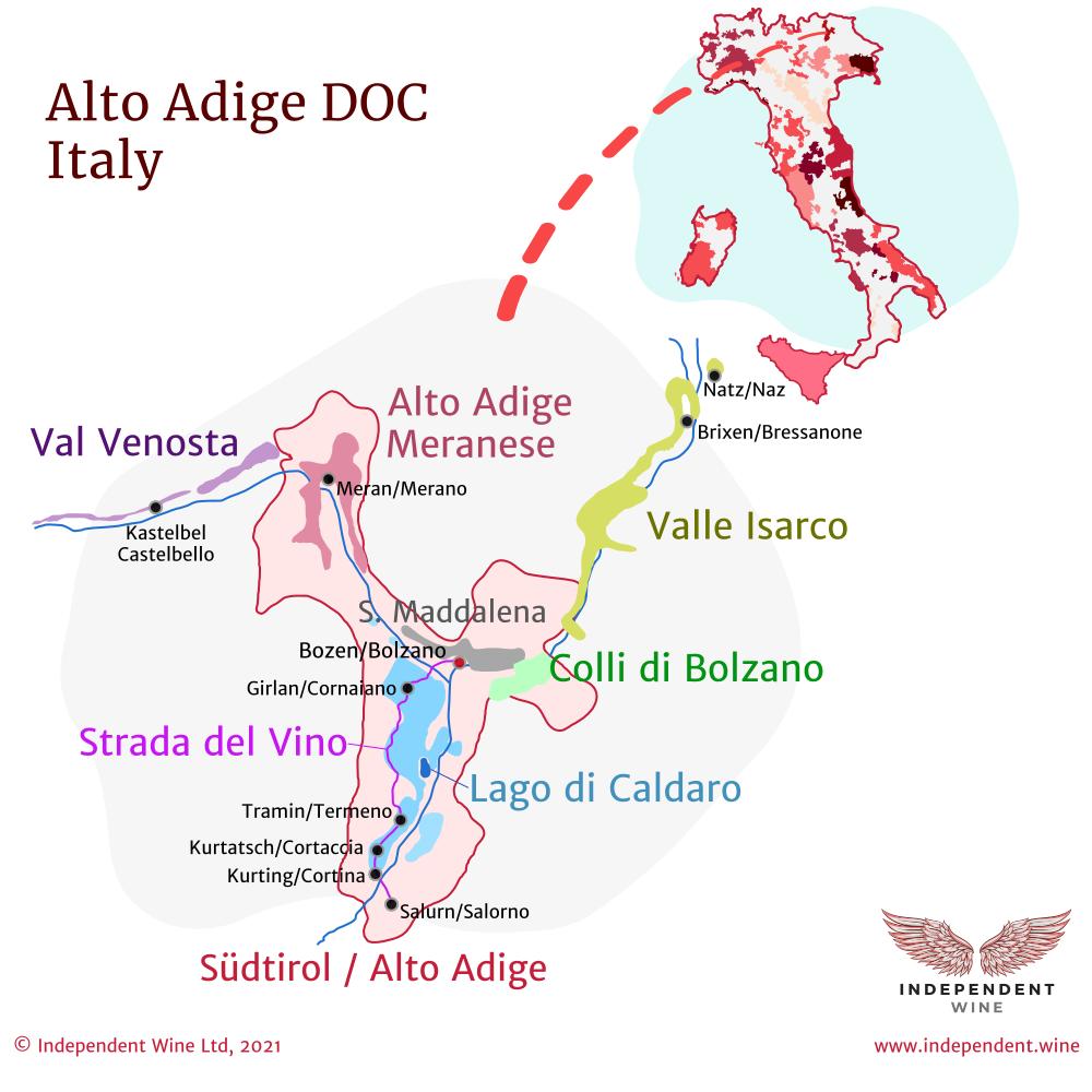 Map of Italian wine-producing region Alto Adige DOC, Italy, and Strada del Vino (wine road)
