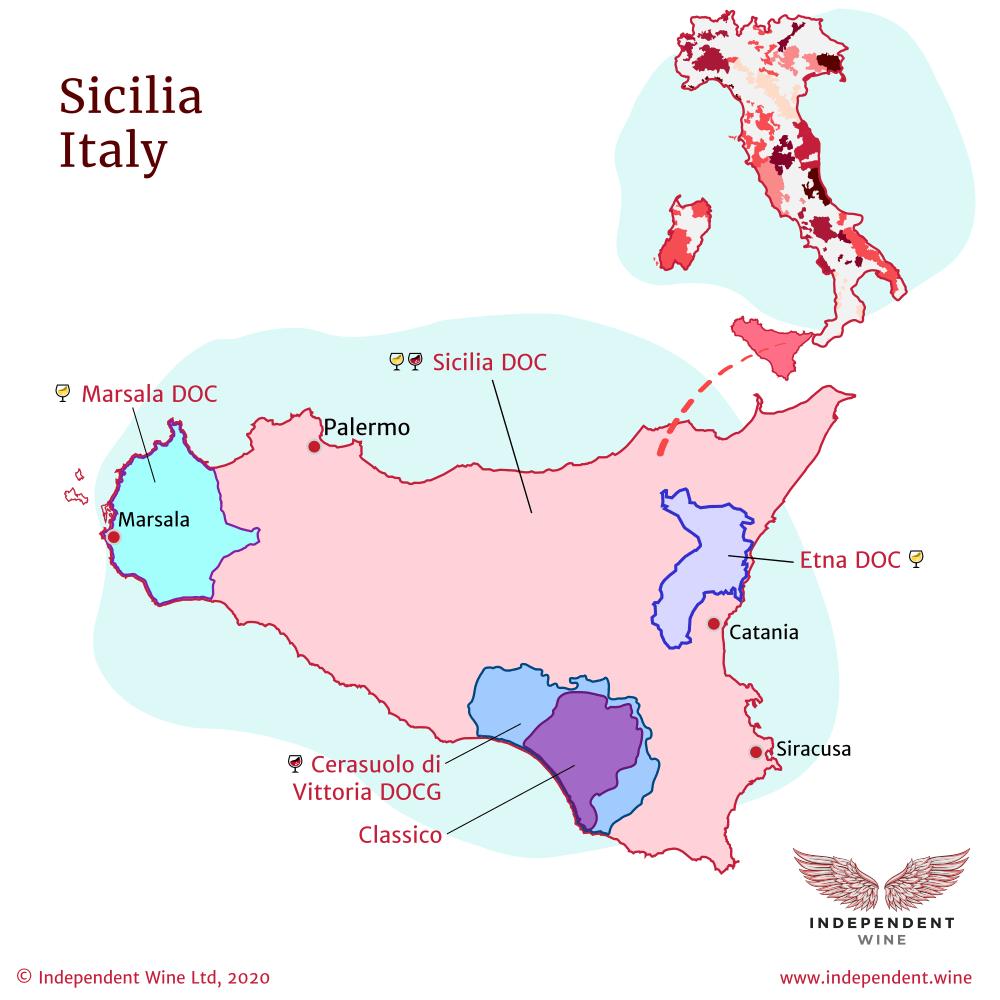 Map of Italian wine producing region Sicily (Sicilia), Sicilia DOC, Marsala DOC, Etna DOC, Cerasuolo di Vittoria DOCG
