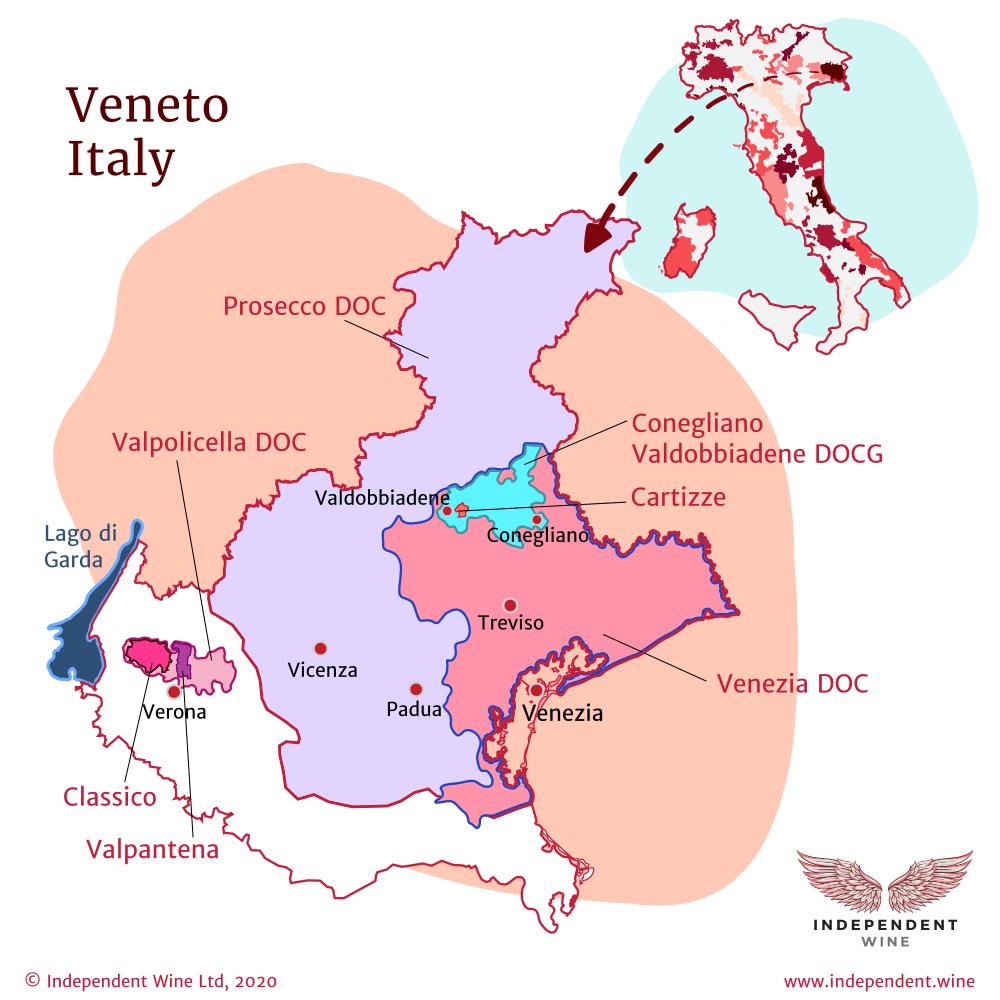 Map of Italian wine-producing region Veneto, Prosecco DOC, Valpolicella DOC, Venezia DOC