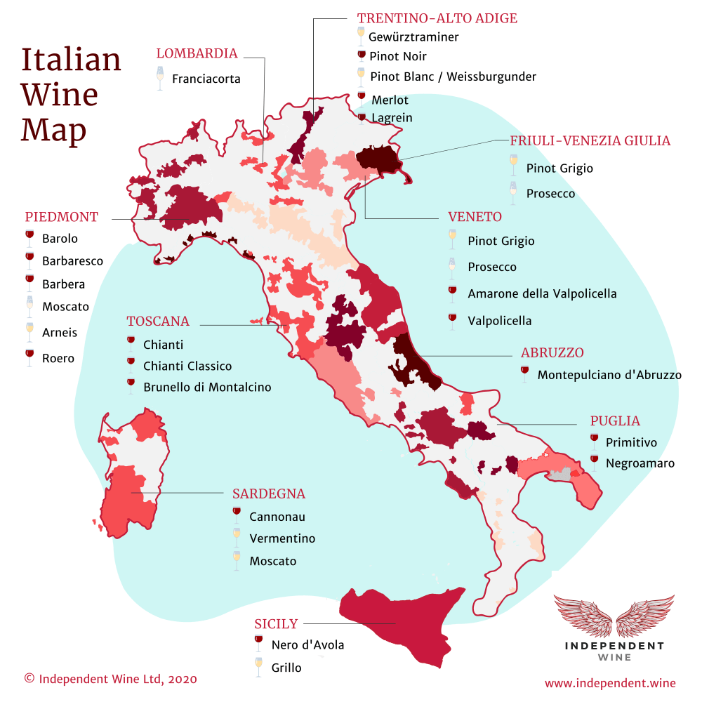 Map of Italian wines and wine producing regions