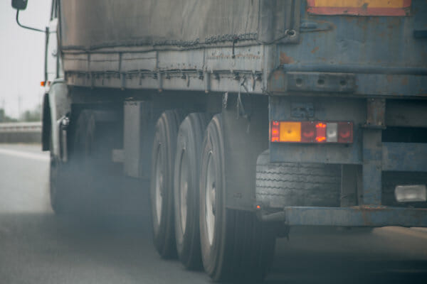 Air pollution generated by truck vehicle