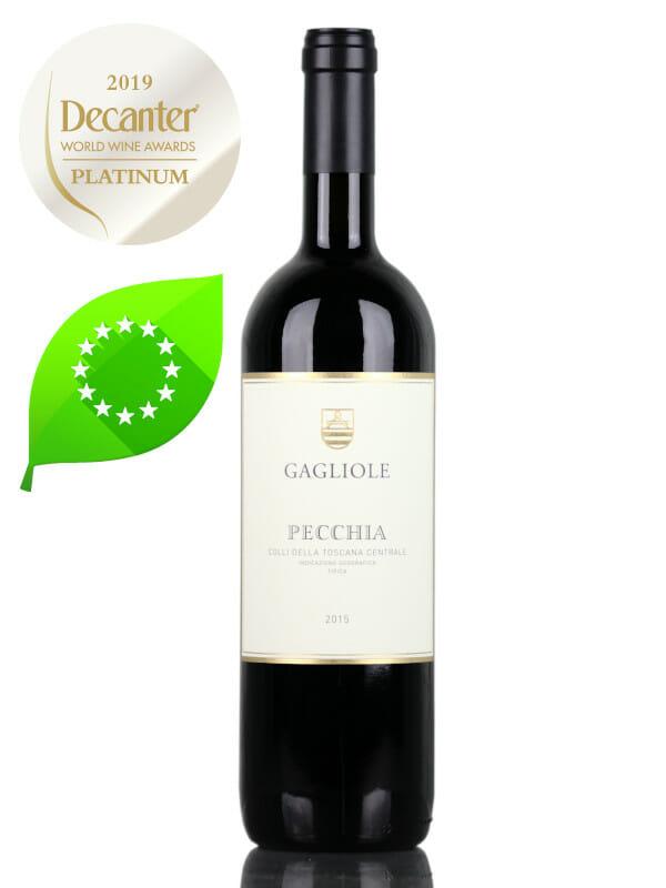 Bottle of red wine Gagliole Pecchia 2015 Organic Super Tuscan - Decanter Platinum Medal
