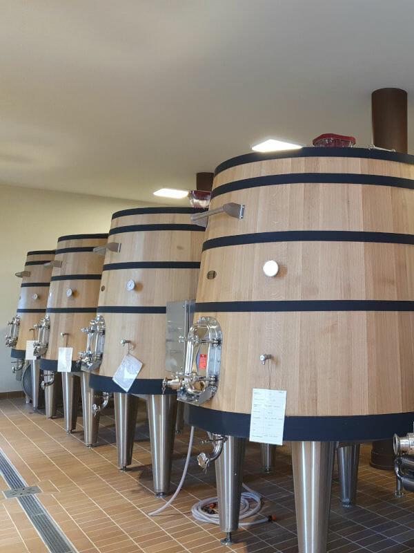 Oak fermentation tanks at Gagliole winery in Chianti Classico