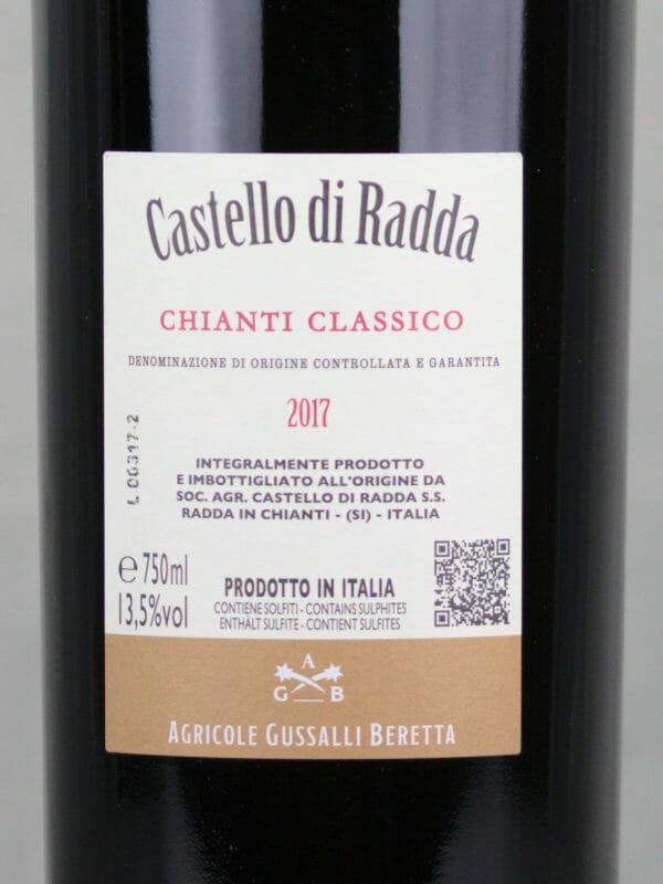 Back label of Chianti Classico DOCG Castello di Radda 2017