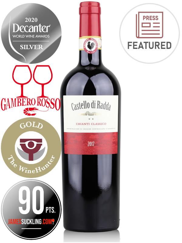 Bottle of Italian red wine Castello di Radda 2017 Chianti Classico DOCG