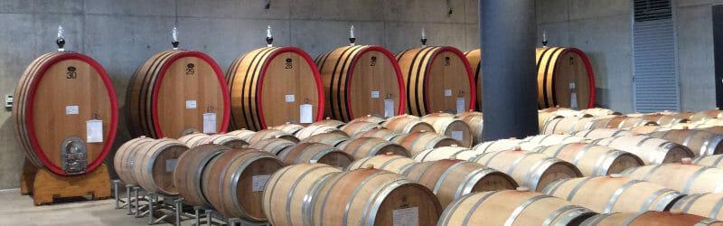 Oak barrels in wine cellar in Forte Masso winery in Barolo DOCG