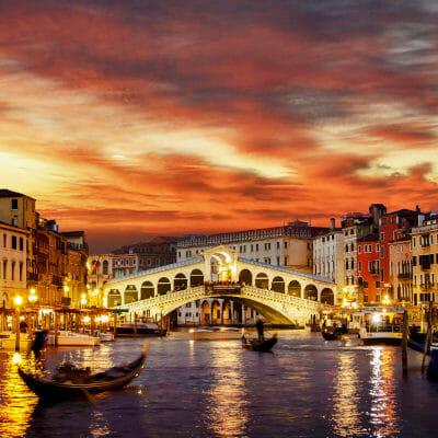 Rialto bridge in Venice, capital of Veneto, Italy