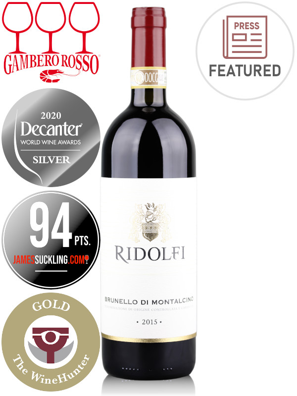 Bottle of Italian red wine Ridolfi Brunello di Montalcino DOCG 2015