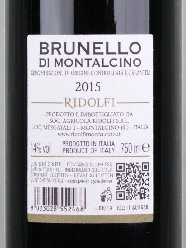 back label of Ridolfi - Brunello di Montalcino 2015 red wine