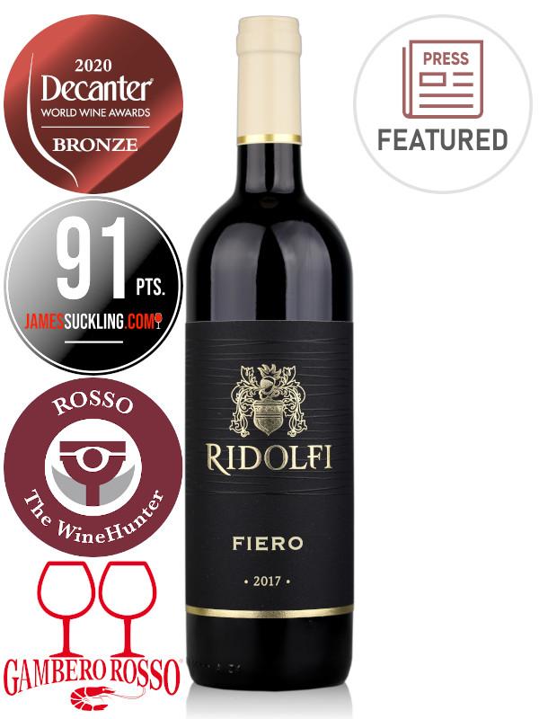 Bottle of red wine Ridolfi Super Tuscan IGT 2017