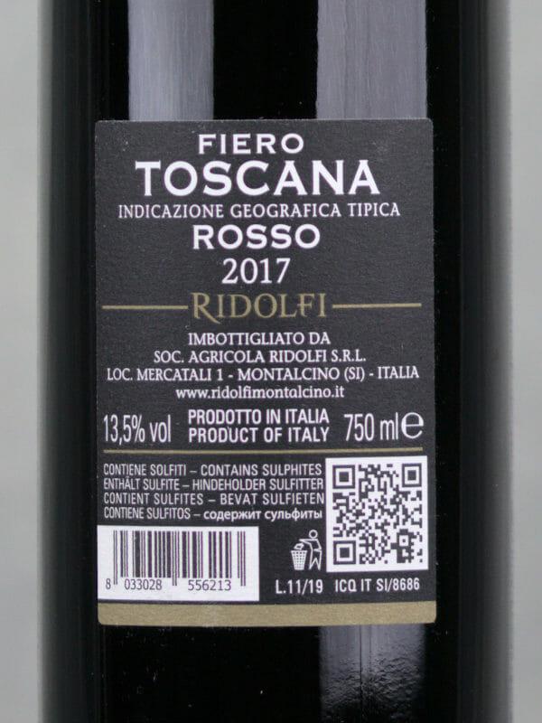Back Label of Ridolfi Fiero - Super Suscan IGT - 2017 red wine