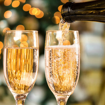 Two glasses of sparkling wine