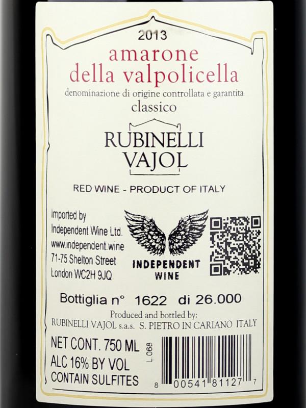 Back label Rubinelli Vajol Amarone della Valpolicella DOCG 2013