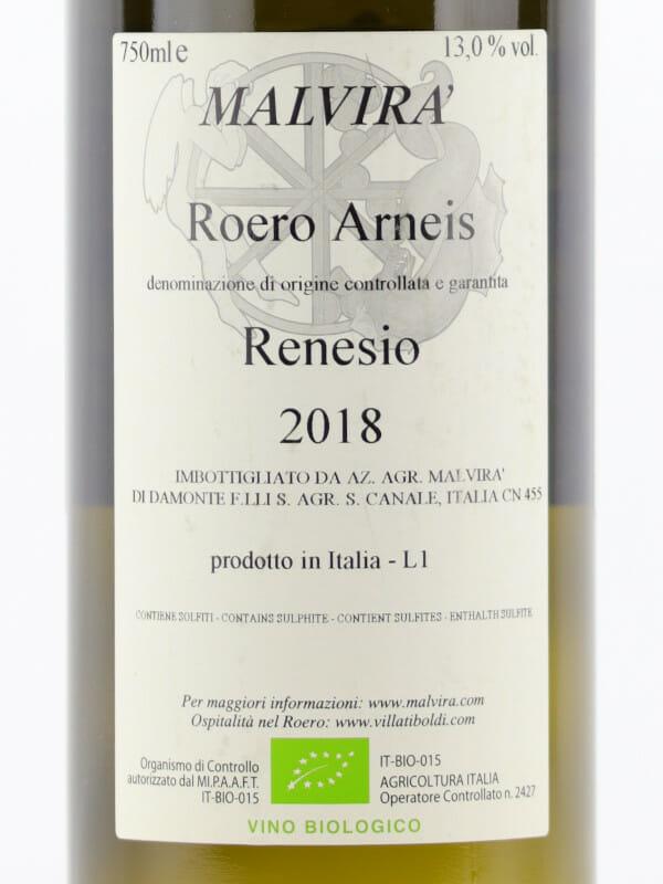 Back label of white wine Malvira Roero Arneis Renesio 2018